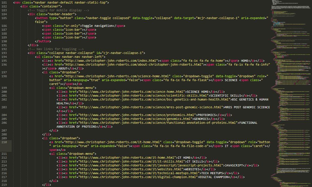 HTML Code Screenshot Christopher John Roberts