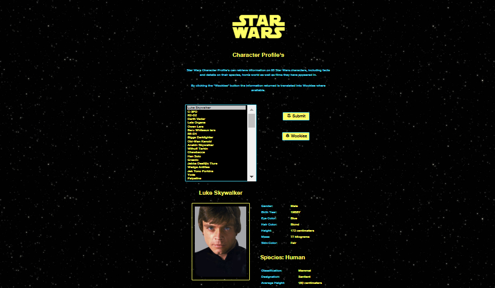Star Wars Character Profiles